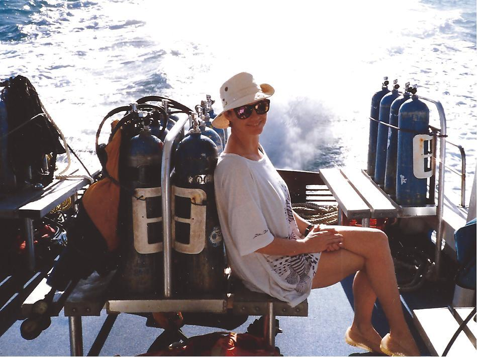 Scuba diver en route to the dive site, while socially distancing