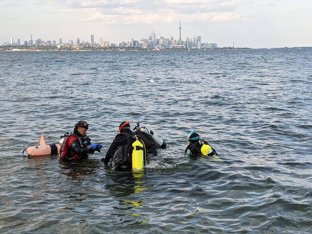 Humber Bay dive with scuba divers at surface and Toronto skyline in the background